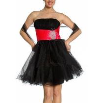 Vestidofesta Noiva Debutante Preto Vermelho Curto Pron. Entr