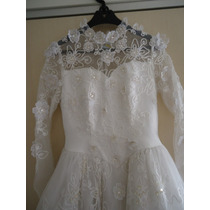 Vestido De Noiva Estilo Romântico Tam. M/g Bordado E Calda