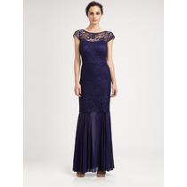 Vestido G Importado Longo Elegante Romântico Renda Azul E.