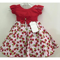 Vestido /fantasia Infantil Moranguinho Luxo De Festa E Tiara