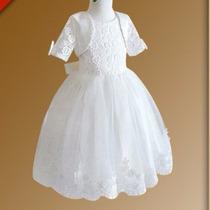 Vestido Infantil Criança Festa Batizado Branco Renda Daminha