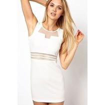Vestido Justo Transparencia Branco Tule Tam. U Ja No Brasil