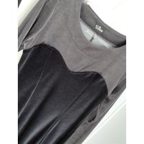 Vestido De Veludo Cinza E Preto Mangas Longas