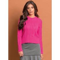 Blusa De Tricô Acrílico Rosa - Suéter - P Á Plus Size