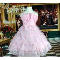 Vestido Infantil Festa/daminha Rosa Ou Branco C/dourado