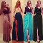Vestido Longo De Três Quartos Com Decote Em V