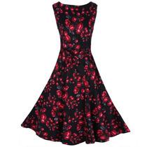 Vestido Social-casual Vintage Floral Rockabilly
