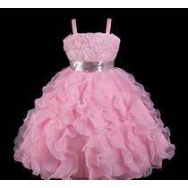 Vestido Infantil/festa/daminha Cor De Rosa Com Paetês