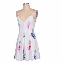 Vestido Verão Praia Curto Branco Com Flores Frete Grátis