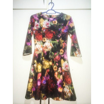 Vestido Manga Comprida, Zara, Floral
