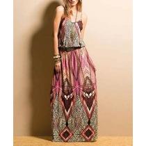 Lindo Vestido Longo Indiano Abstrato Promoção Só Hoje!