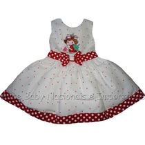 Vestido Festa Moranguinho Baby Branco/ Vermelho 1 A 4 Anos