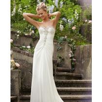 Vestido De Noiva Longo Bordado Perola Miçanga Pp Ao G8 Kl35