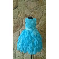 Vestido Infantil Festa/princesa Cinderela Elsa Azul Flores