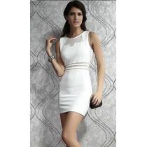 Vestido Saia Bodycon Luxo Croped Tubinho Branco Importado