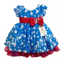 Vestido Galinha Pintadinha Infantil Luxo C/ Laço -tam 1 / 3