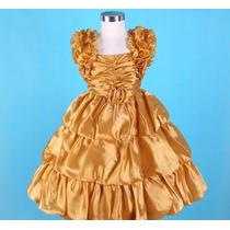Vestido Infantil Princesa/festa/florista Alça Frufru Dourado