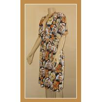 Vestido Estampado Manga Senhora Grande 48 50 52 54 Plus Size