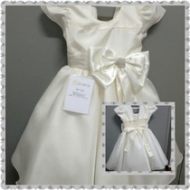 Vestido Luxo Infantil De Festa Branco Com Laço