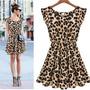 Vestido Chiffon Oncinha Leopardo Animal Print Balada Festa