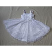 Vestido Infantil Batizado/festa Corações Branco - Tam 4