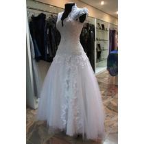 Lindo Vestido De Noiva Em Renda Mariscot E Cristais