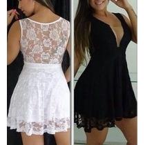 Vestido Em Renda Com Decote Ilusion, Festa Fashion
