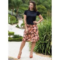 Conjunto Moda Evangelica Saia Floral + Blusa