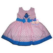 Vestido Festa Galinha Pintadinha Rosa/turquesa 1 A 4 Anos