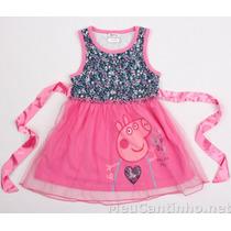 Vestido Infantil Peppa Pig Com Saia Em Tule - Frete Grátis