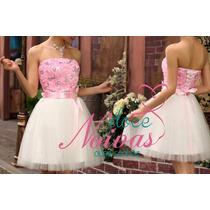Vestido Noiva Debutante Curto Com Rosa Novo Pronta Entrega