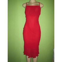Vestido Vermelho Crepe De Seda Tamanho M