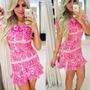 Vestido Pink Jô Fashion Modelo Peplum - Estampado