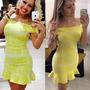 Vestido Amarelo Jô Fashion Modelo Peplum - Estampado