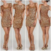 Vestido Dourado Em Paetê - Maravilhoso!!! Reveillon Virada