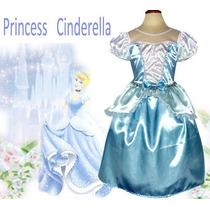 Fantasia Vestido Cinderela + Tiara Pronta Entrega Oferta
