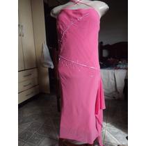 Vestido Social De Musseline Rosa Escuro Bordado Vitrilhos