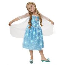 Vestido Fantasia Elsa Musical Canta E Brilha Disney Frozen