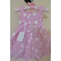 Vestido De Festa Bebê/ Infantil Luxo Rosa De Bolinha