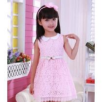 Vestido Infantil Rosa E Branco De Renda + Cinto Frete Grátis