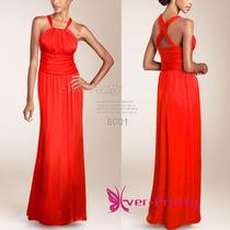 Vestidos Longo Cetim Chifffon Vermelho Queima Estoque