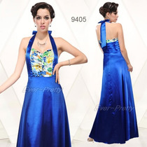 Vestido Festa Longo Cetim Azul Queima Estoque