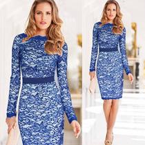Vestido Em Renda Azul E Cetim Importado Midi