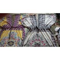 Vestido Tipo Kimono Branco,motivos Indianos - Novo - Lindo!