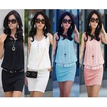 Mini Vestido Cotton Lycra/detalhe De Chiffon-pronta Entrega