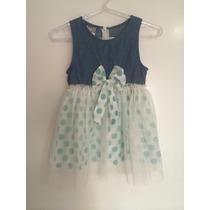 Vestido Infantil Jeans Azul Saia Tule Branca Bolinhas Festa