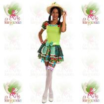 Vestido Junino Adulto Caipira Festa Junina ° Boneca Verde-c