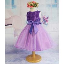 Vestido Infantil Festa Princesa Roxo - Pronta Entrega