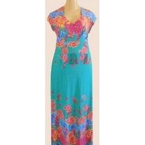 Vestido Longo Com Barrado Em Flores Plus Size Gg