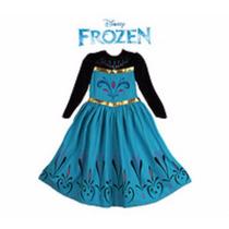 Vestido Elsa Frozen Coroação Da Rainha 3 A 7 Anos Fantasia